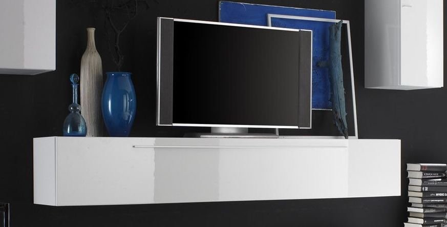 meuble tv blanc laqu suspendu id es de d coration int rieure french decor. Black Bedroom Furniture Sets. Home Design Ideas