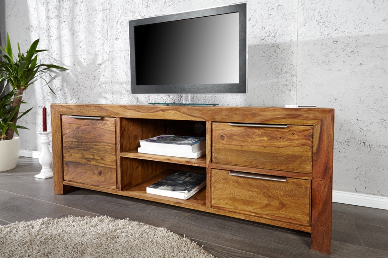 Meuble Tv En Bois Massif Idees De Decoration Interieure French Decor