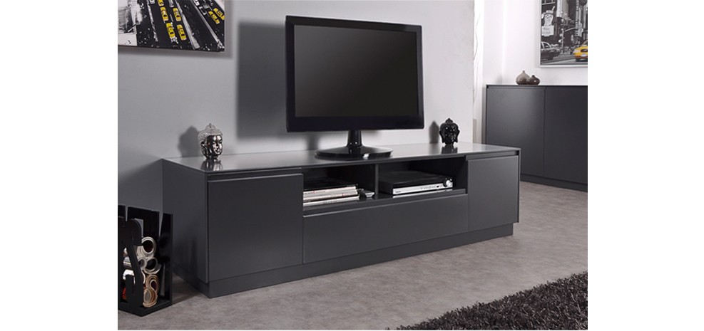 Beautiful Meuble Tv Gris Anthracite Images - Joshkrajcik.us ...