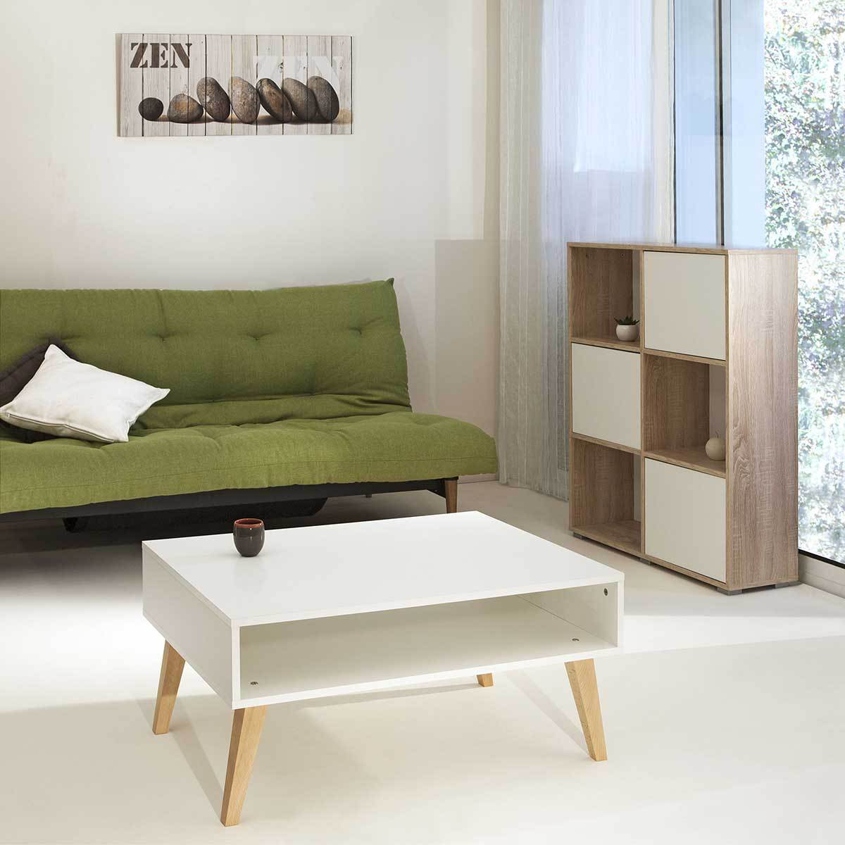 table basse blanche pied bois