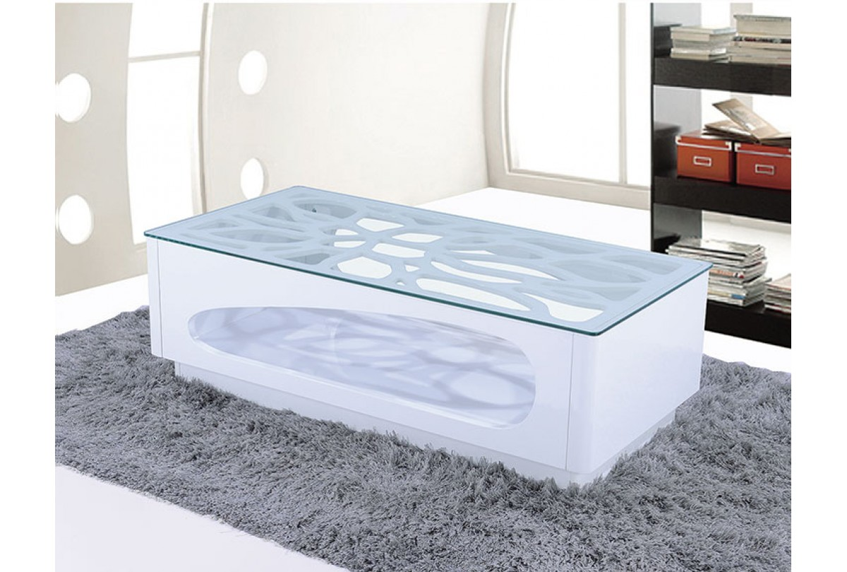 table basse blanche verre