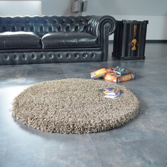 tapis shaggy rond