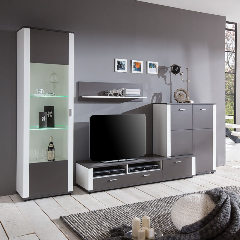ensemble meuble tv gris id es de d coration int rieure. Black Bedroom Furniture Sets. Home Design Ideas