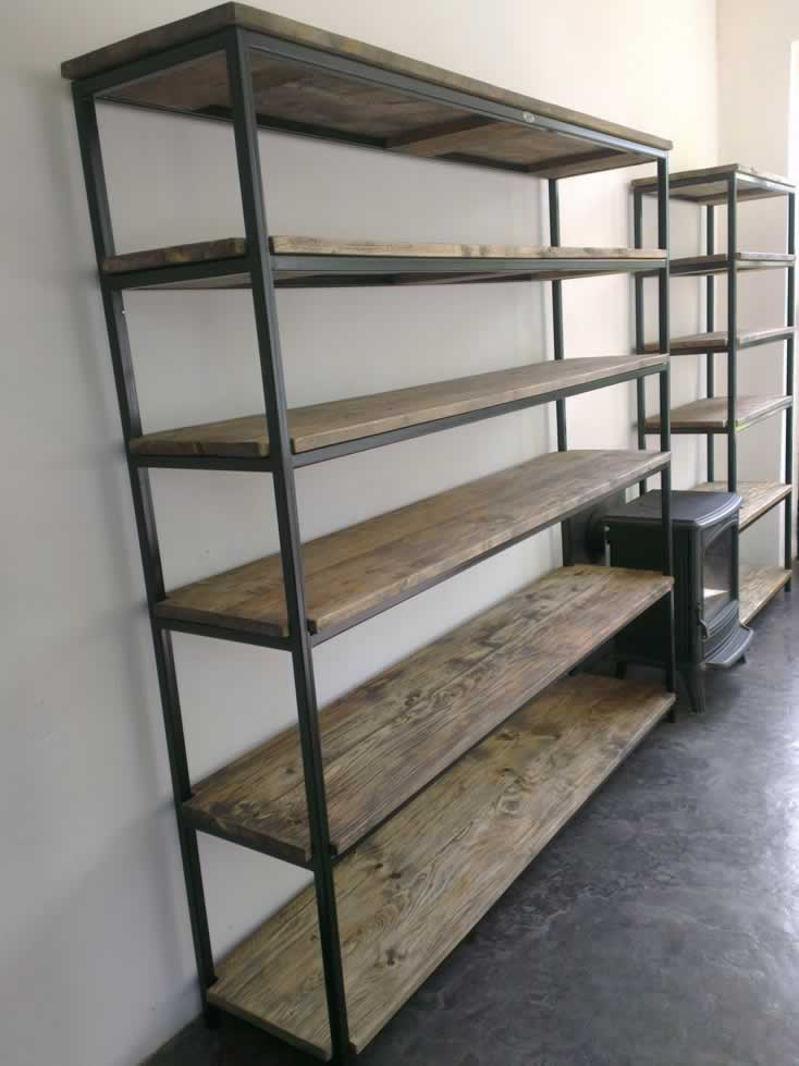 etagere bibliotheque bois metal