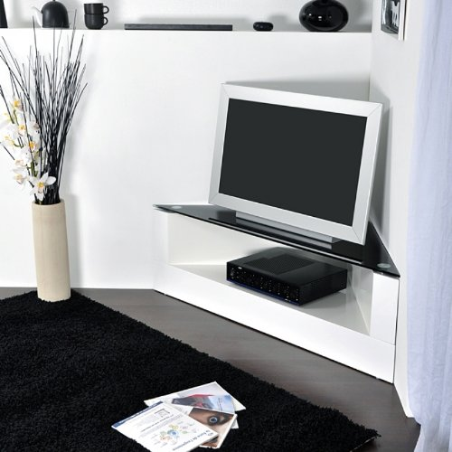 meuble tv d angle design blanc id es de d coration. Black Bedroom Furniture Sets. Home Design Ideas