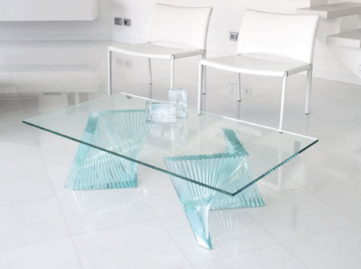 table de salon contemporaine en verre