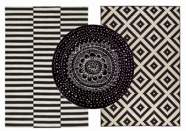 tapis noir et blanc graphique id es de d coration. Black Bedroom Furniture Sets. Home Design Ideas