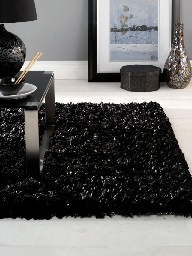 tapis poil long noir id es de d coration int rieure. Black Bedroom Furniture Sets. Home Design Ideas