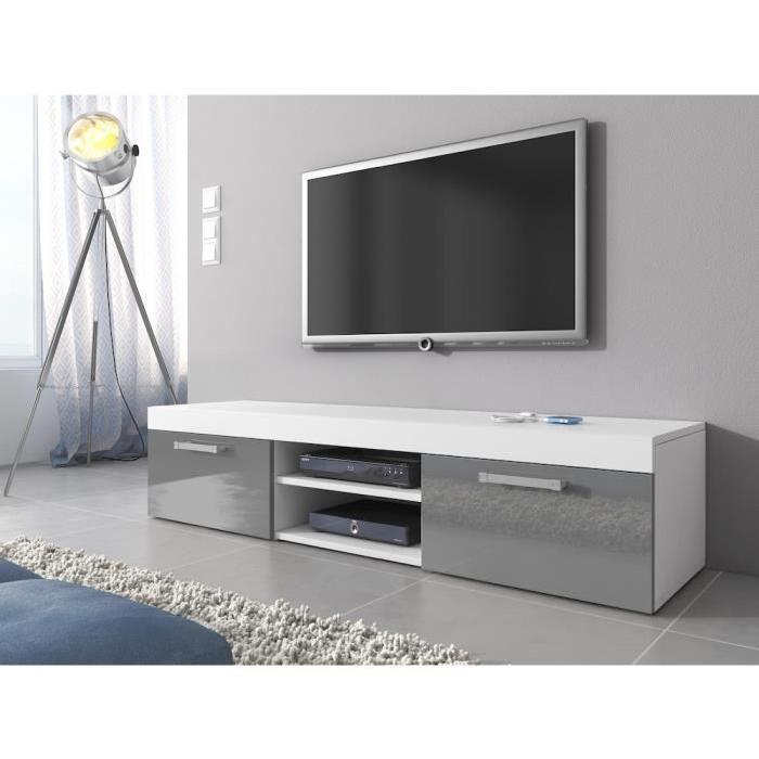 Meuble Tv Blanc Et Gris Idees De Decoration Interieure French Decor