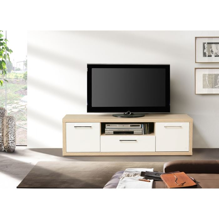 meuble tv chene et blanc id es de d coration int rieure french decor. Black Bedroom Furniture Sets. Home Design Ideas