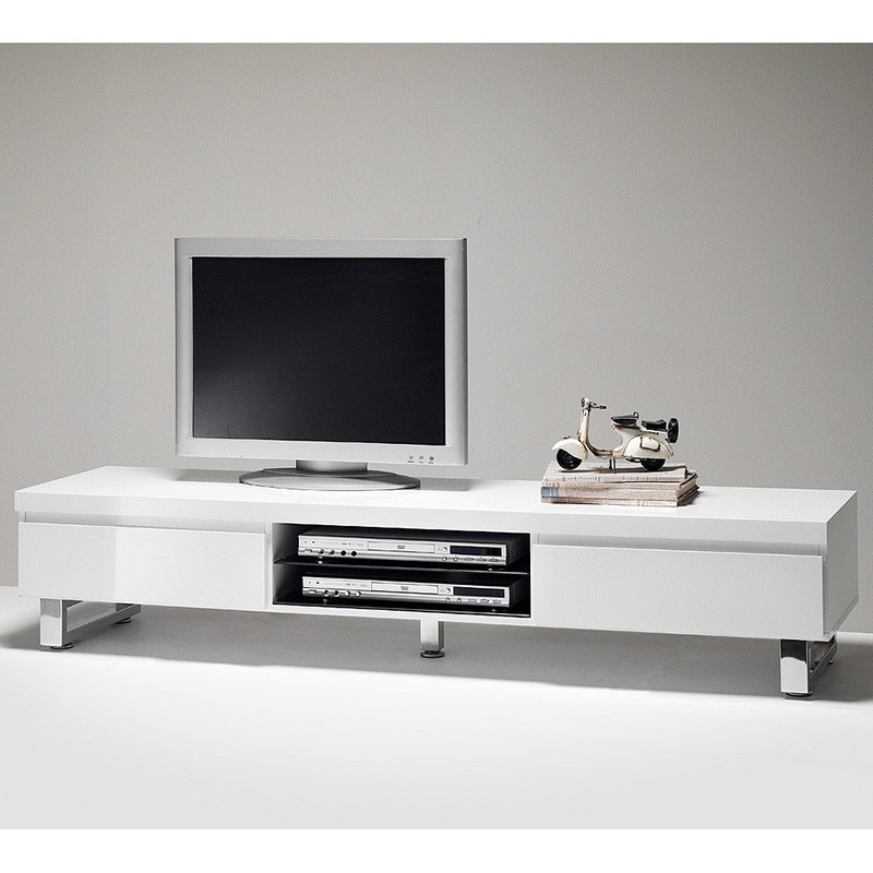 meuble tv blanc laqu long id es de d coration int rieure french decor. Black Bedroom Furniture Sets. Home Design Ideas
