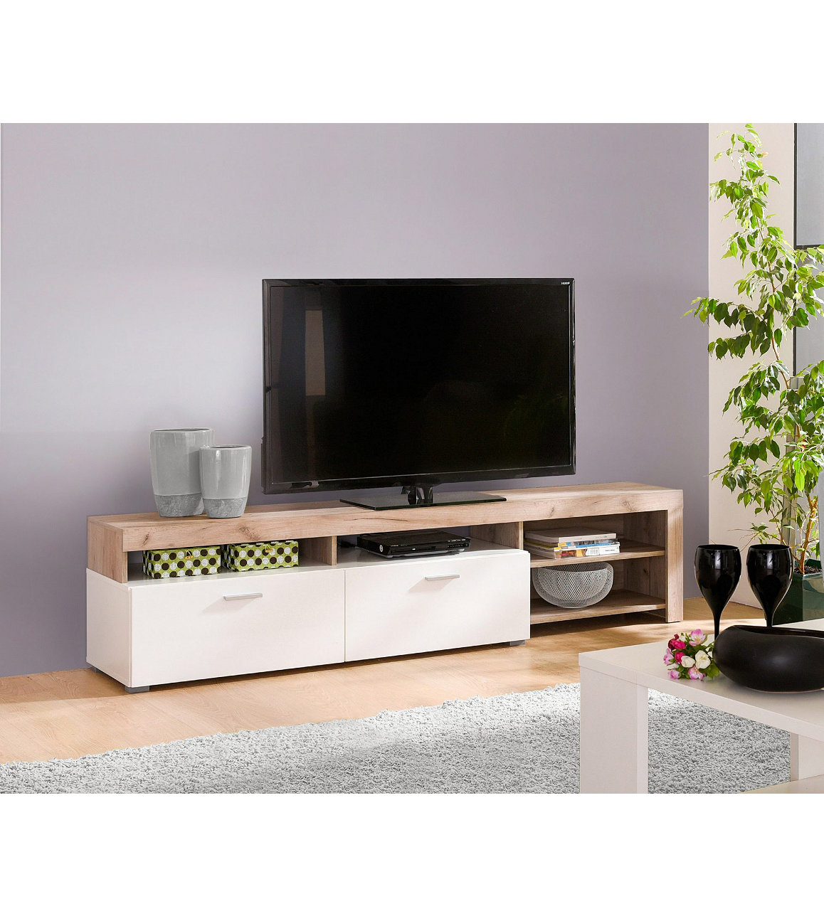 meuble tv bois et blanc id es de d coration int rieure. Black Bedroom Furniture Sets. Home Design Ideas