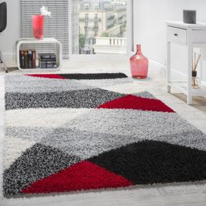 tapis salon rouge et gris