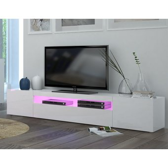 Meuble tv blanc laqu long id es de d coration int rieure french decor - Meuble tv tres long ...
