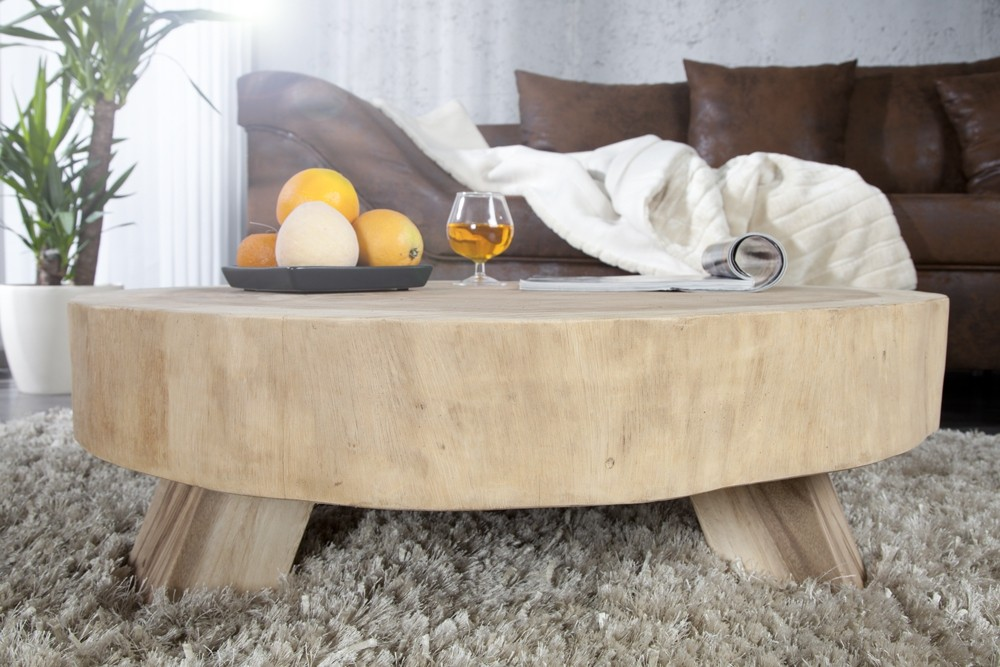 Table Basse Ronde En Bois Massif Idees De Decoration