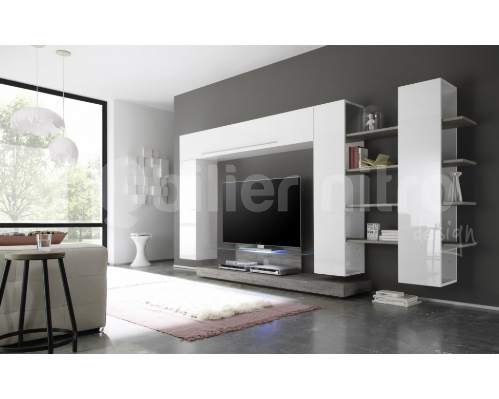 meuble tv led gris