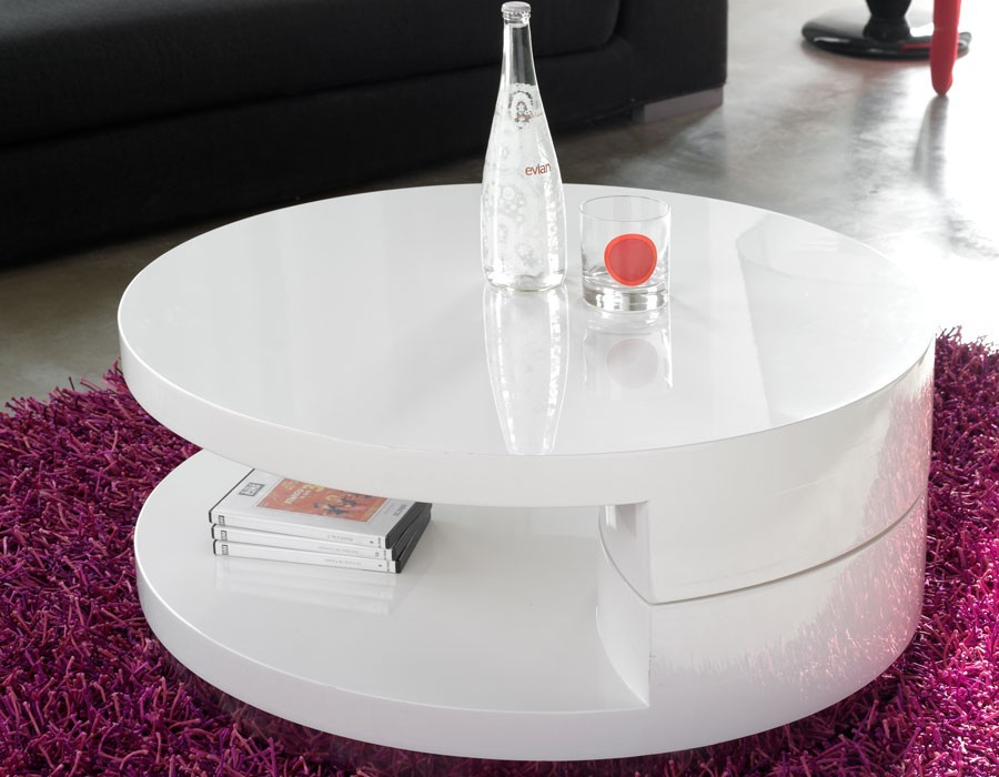 table basse ronde blanc laqué
