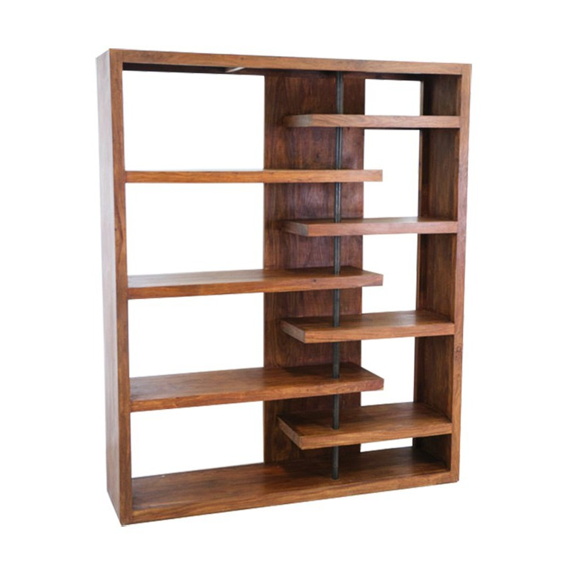 etagere bibliotheque bois brut
