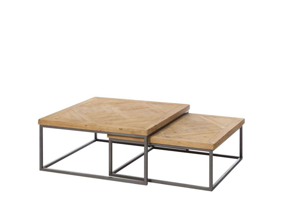 table basse carrée bois metal