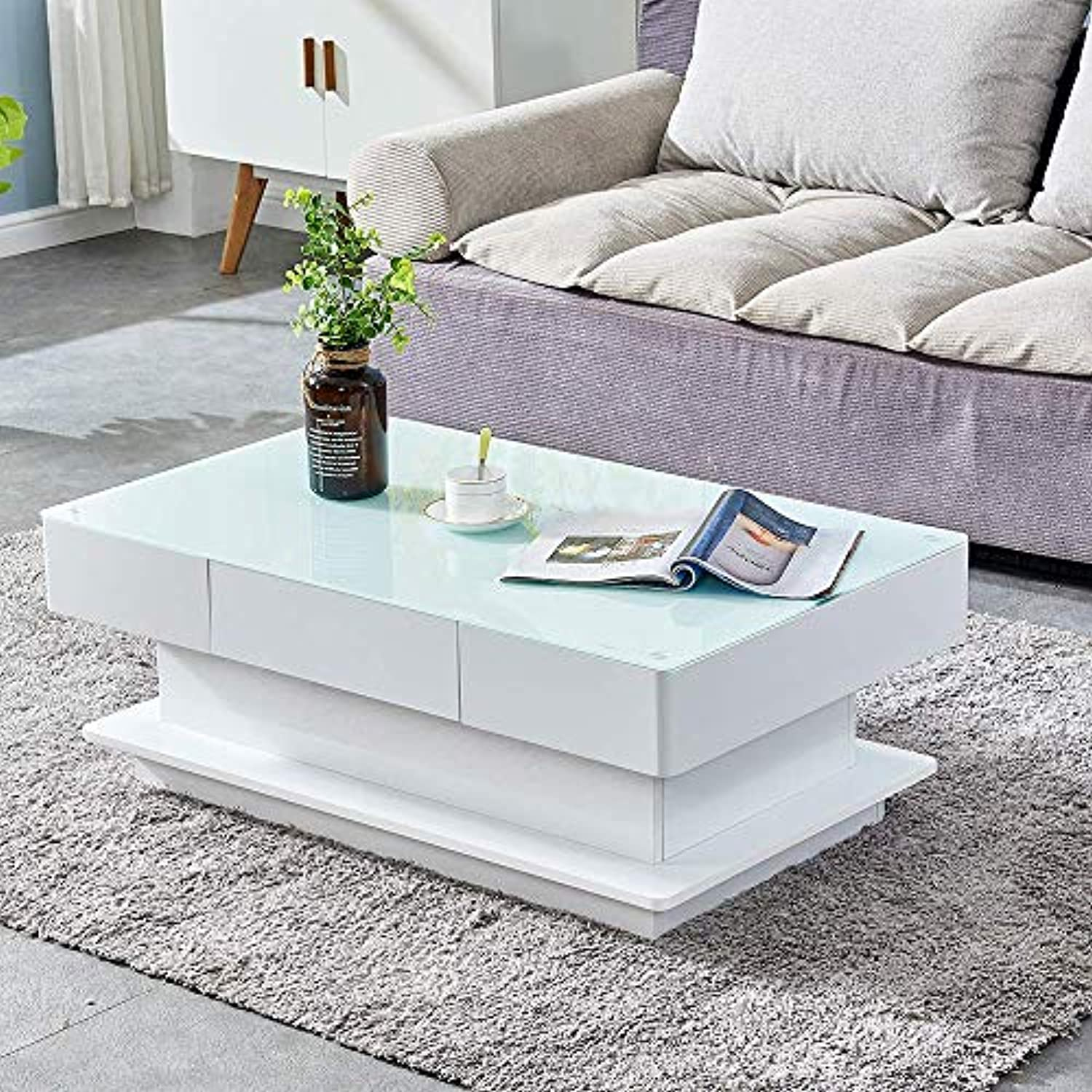 table basse rectangulaire blanche